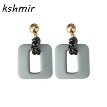 South Korea geometric hollow square studs eardrop contracted temperament earrings exaggerated female jewelry earring цена