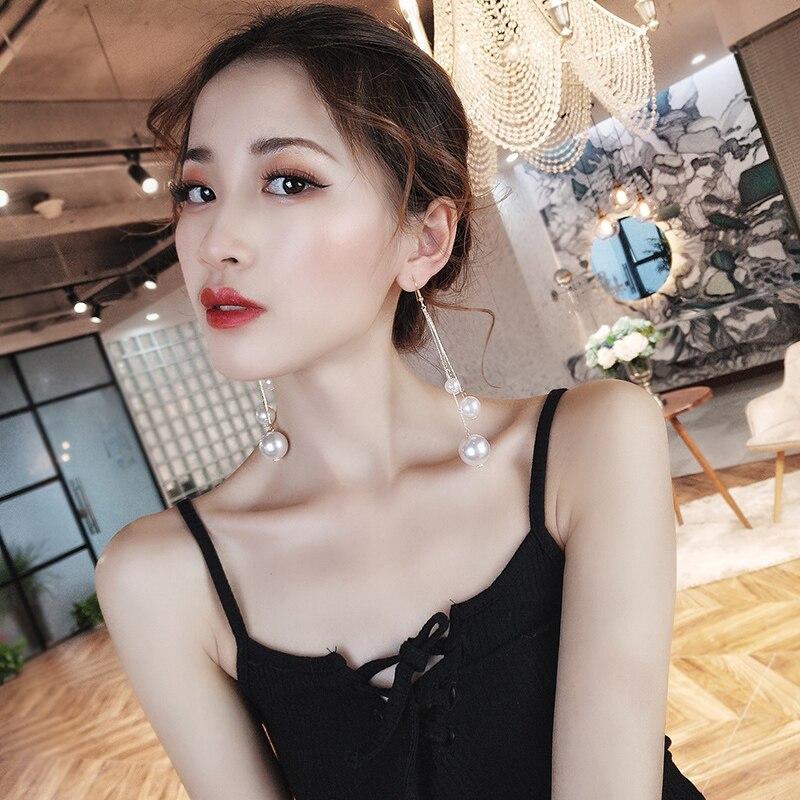 DREJEW Big Small Gold Silver Pearl Statement Earrings 2019 925 Long Tassel Chain Drop Earrings for Women Fashion Jewelry HE448 in Drop Earrings from Jewelry Accessories