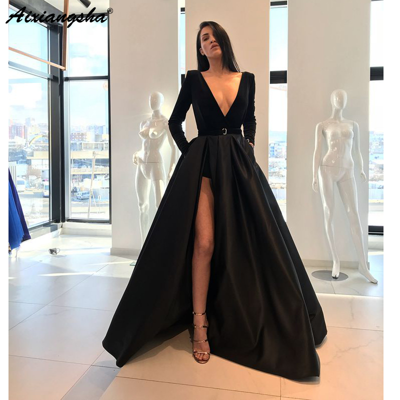 Black Muslim   Evening     Dresses   2019 A-line V-neck Satin Pockets Long Sleeves Slit Sexy Dubai Arabic Long   Evening   Gown Prom   Dress