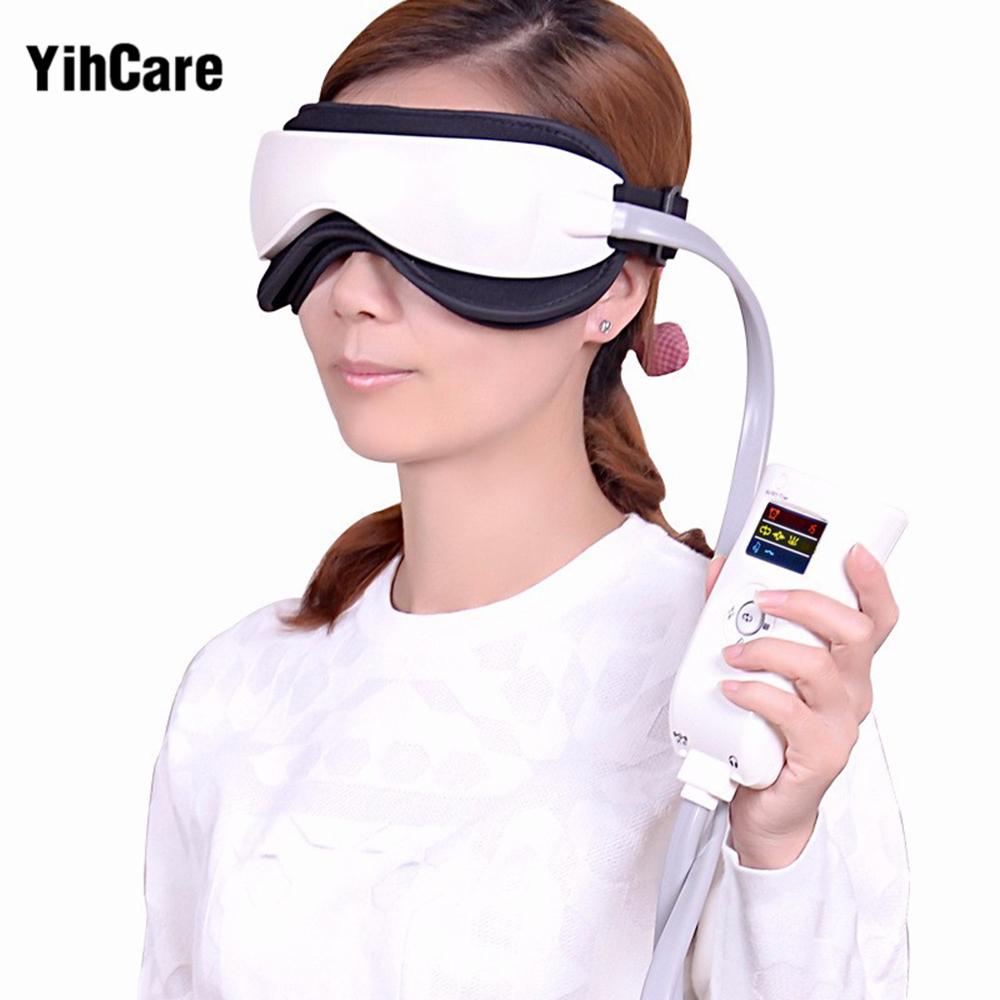 YihCare Music Electric Vibration Magnetic Air Pressure Far-Infrared Eye Massager Machine Heating Massage Glasses Eye Care Device kiki new air pressure eye massager with mp3 6 functions dispel eye bags eye magnetic far infrared heating eye care