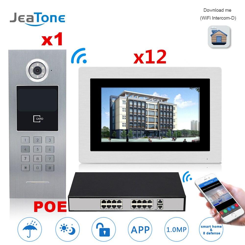 7 ''écran tactile WIFI IP interphone vidéo + commutateur POE 12 étages bâtiment système de contrôle d'accès Support mot de passe/carte à puce
