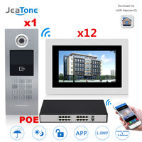 7'' Touch Screen WIFI IP Video Door Phone Intercom +POE Switch 12 Floors Building Access Control System Support Password/IC Card