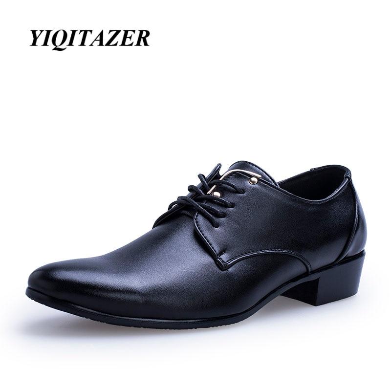 """""""YIQITAZER 2018"""" vyriški drabužiai iš itališkos vyriškos odinės avalynės, madingi vyriški odiniai mokasininiai nėriniai batai, pažymėti piršto batais, juoda ruda"""