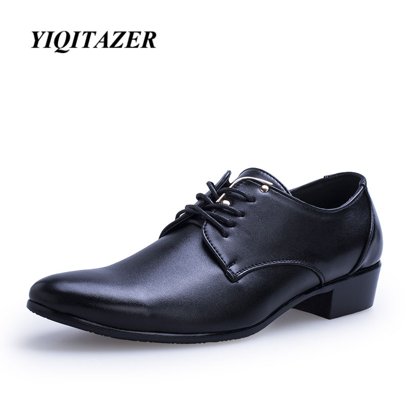 YIQITAZER 2018 Pria Berpakaian Sepatu Pria Kulit Italia, Fashion Pria Kulit Moccasin Renda Sepatu Kaki Menunjuk Sepatu Hitam ...