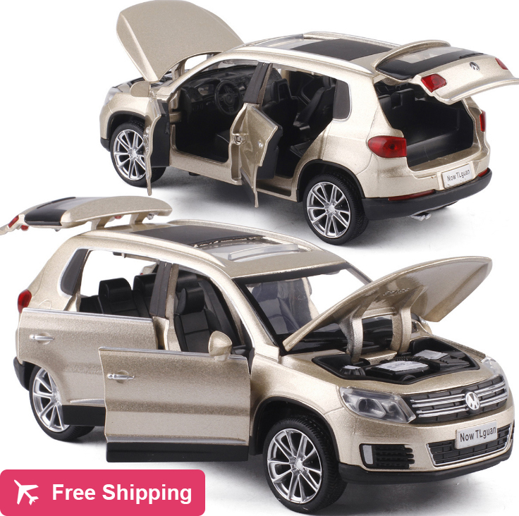 High Simulation 1:32 Tiguan SUV Alloy Pull Back Toy Car Model Musical Flashing Six Open The Doors Diecast Metal For Kids Toys