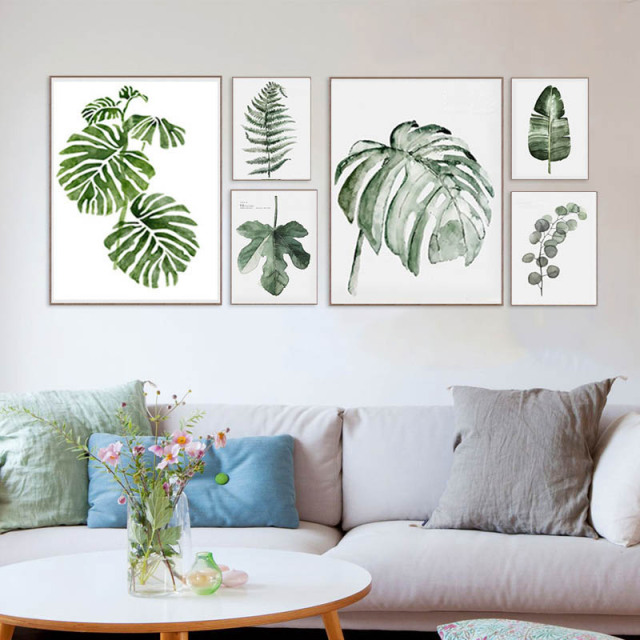 Original design watercolor green leaf natural tropical - Poster para pared ...