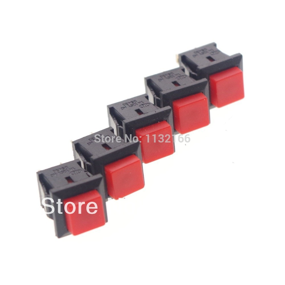 Red Square 14*14 2 Pin SPST NC Momentary Push Button Switch red 2 pin spst miniature 2a 125vac 12mm hole no momentary push button switch