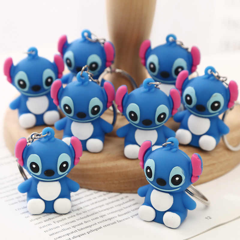 ที่ดีที่สุด Lilo และ Stitch น่ารักพวงกุญแจเครื่องประดับโลหะ Blue จี้การ์ตูนแหวนกุญแจสแตนเลสอินเทรนด์คอสเพลย์ผู้หญิง Animated