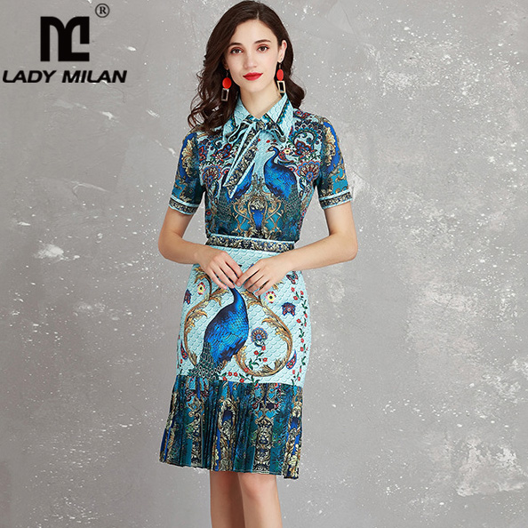 Lady Milan Womens Turn Down Collar Bow Animal Printed Shirt with Pleated Mermaid Skirts Fashion Runway Twinsets Two Piece Dress
