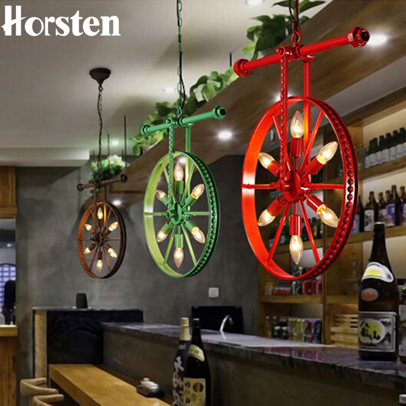 Horsten Vintage Wrought Iron Retro Industrial Loft Pendant Lights Creative Restaurant Cafe Bar American Wheel Pendant Lamp vintage pendant lights industrial loft american retro lamps creative restaurant dining room lamp bar counter incandescent bulb