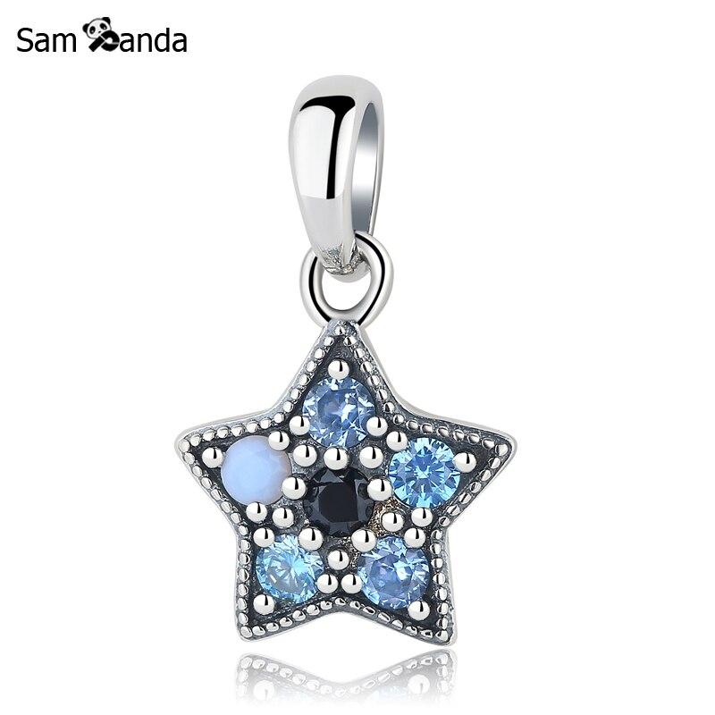 New 925 Sterling Silver Charms Beads Blue Star Dangle Pendant Blue CZ Crystal Fit Pandora Bracelets & Bangles Diy Women Jewelry