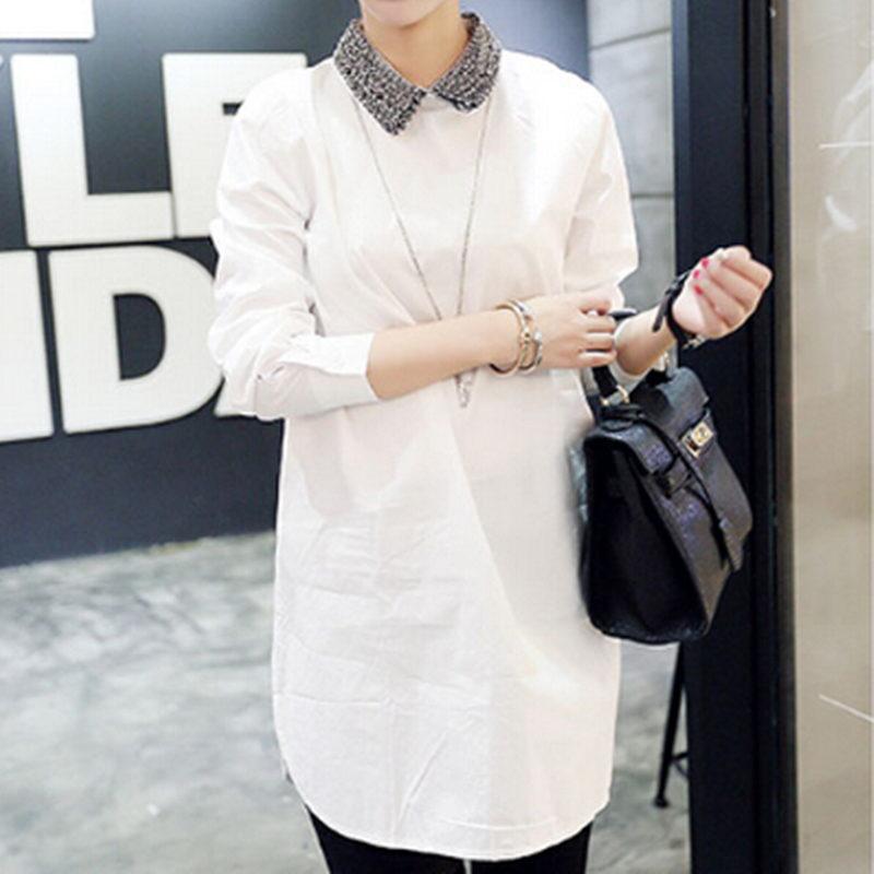 2016 New Spring Shirts Blouses Long Sleeve Doll Collar White font b Women b font font