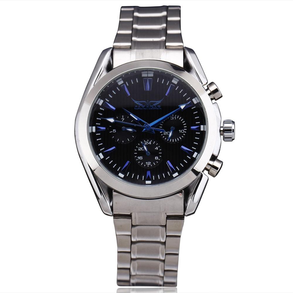 2016 JARAGAR Automatic Self-Wind Mechanical Military Sport Calendar 24 Hour Week Dial Full Steel Band Men Dress Wrist Watches