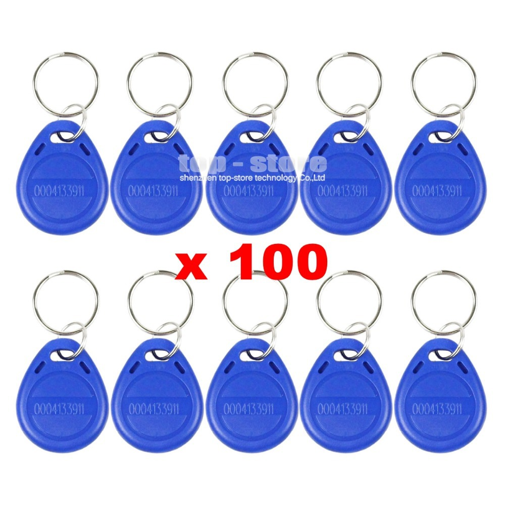 DIYSECUR 100pcs/lot 125Khz RFID Proximity ID Card Token Tags Key Keyfobs for Access Control System Free Shipping