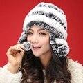 Outono inverno Super quentes de inverno mulheres genuine rex rabbit fur hat aquecedores de orelha de Coelho Rex cap senhora chapéu de pele De Alta qualidade luxo