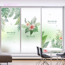 Nordic Leaves Window film stained glass sticker Custom no-glue self-adhesive vinyl Static Cling frosted office decorative films