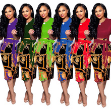 2019 hot selling Africa Dashiki women clothes printed new nightclub style one-piece dress