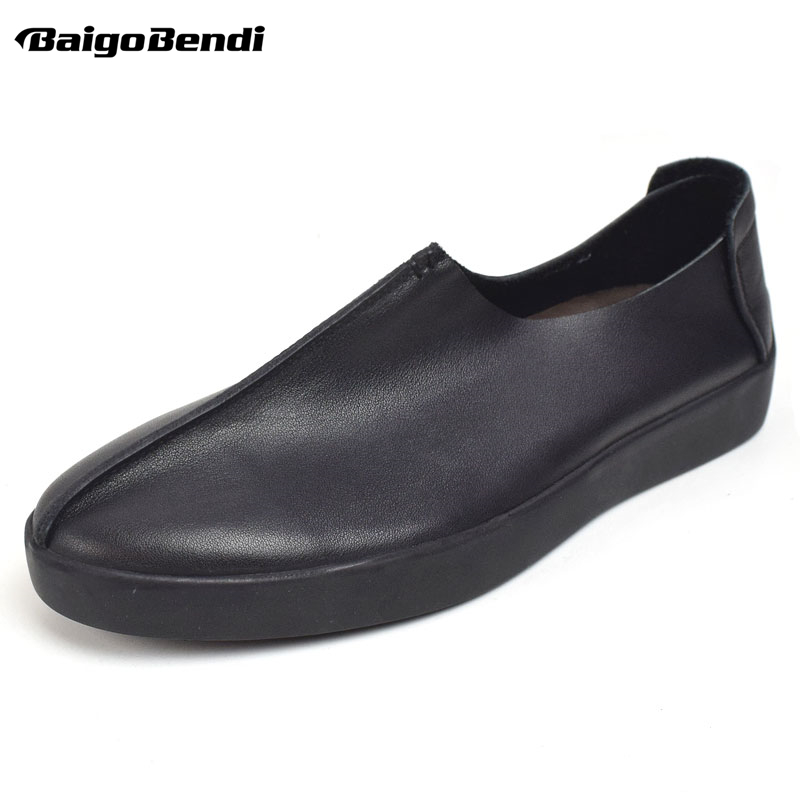 BAIGOBENDI Leisure Mens Soft Genuine Leather Slip On Loafers Driving Car Shoes Business Man Casual Office Shoes Autumn hight quality men soft genuine leather buckle loafer slip on driving car shoes moccasin bussiness man office shoes