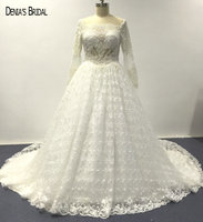 2017 Ball Gown Elegant Lace Wedding Dresses With Beaded Sheer Scoop Neckline Floor Length Chapel Train