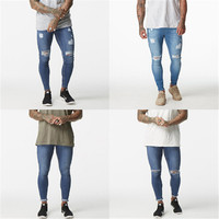 Ripped Jeans For Men Super Stretch Male Pant Distressed Fake Designer Brand Men Jeans Skinny Fit