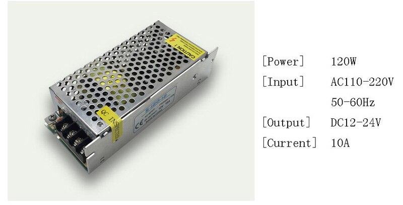 DC 12V LED strip driver Power Adapter 1A 2A 3A 5A 10A 15A 20A Switch Power Supply AC110V-220V 24V Transformer Power 60W 78W 120W (5)