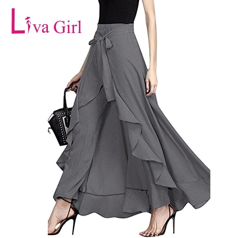Liva Girl Autumn Casual Chiffon Pants Bow Tie Waist Ruffles Hanging Camouflage Trousers Loose  Harem Pants Female Long Culottes