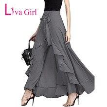 Liva Girl 2017 New Fashion Autumn Chiffon Tie Waist Ruffles Hanging Pants Camouflage Trouser Casual Female Long Culottes