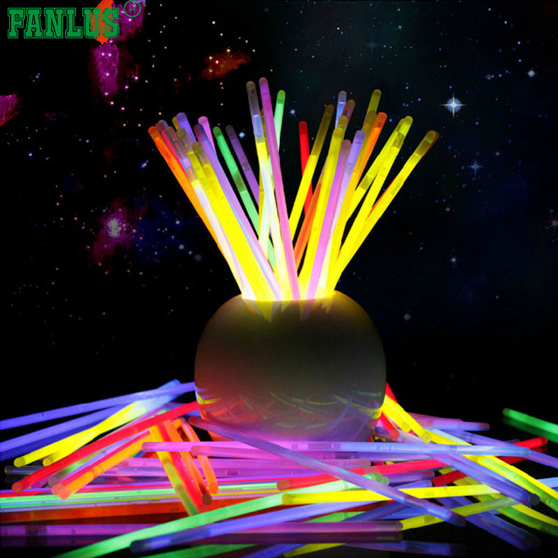 FANLUS 10pcs/lot Light up Toys Glow Stick Bracelets Mixed Colors Party Favors Supplies (Tube of 10)