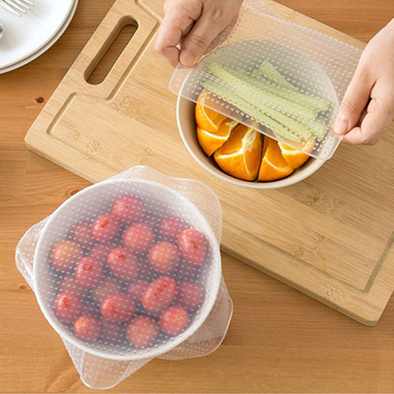 Seal-Cover Kitchen-Tools Food-Wrap Cooking Clear Multifunctional Silicone Reusable Stretch
