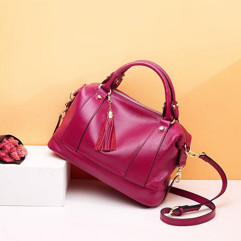 Sac à bandoulière Messenger de luxe pour femme sacs à bandoulière d'été pour femme sacs à main et sacs à main en cuir véritable sac fourre tout noir gland 2019 - 3