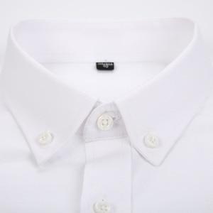 Image 4 - الرجال طويلة الأكمام منقوشة مخطط أكسفورد قمصان واحدة التصحيح جيب قسط الجودة القياسية صالح زر أسفل القطن قميص غير رسمي