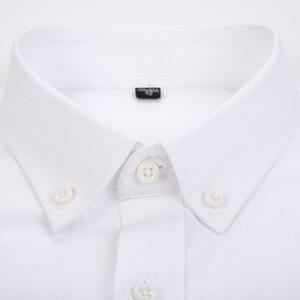 Image 4 - גברים של ארוך שרוול משובץ פסים אוקספורד חולצות אחת תיקון כיס פרימיום באיכות סטנדרטי fit כפתור למטה כותנה מזדמן חולצה