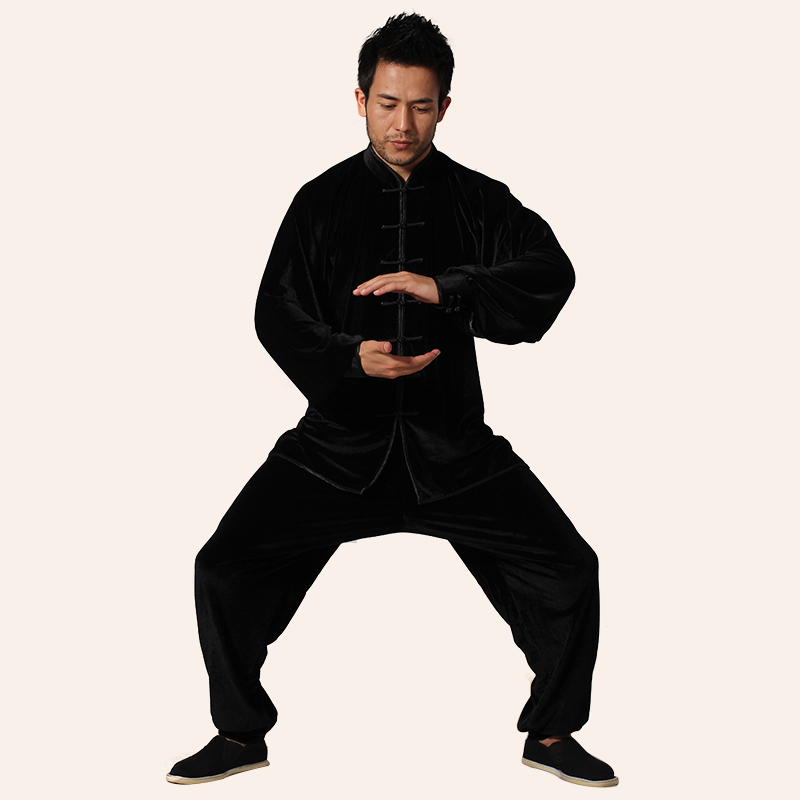 Top Quality Black Men Tai Chi Kung Fu Sets China Tang Suit Clothing Spring Autumn Size Size XXS XS S M L XL XXL 3XL spring design popular men s hooded fleece black yellow size xl