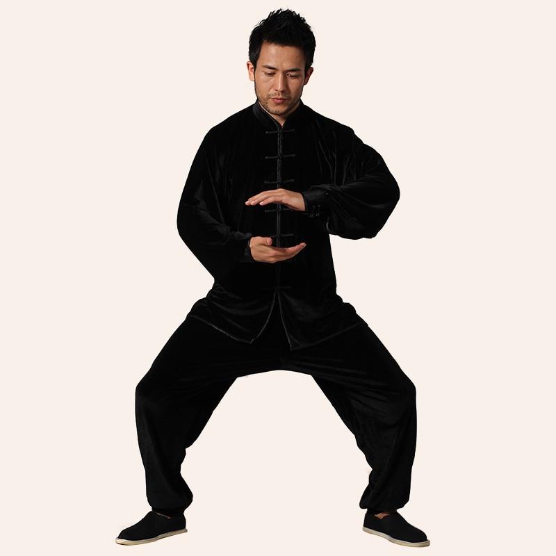 Top Quality Black Men Tai Chi Kung Fu Sets China Tang Suit Clothing Spring Autumn Size Size XXS XS S M L XL XXL 3XL