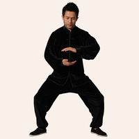 Top Quality Black Men Tai Chi Kung Fu Sets China Tang Suit Clothing Spring Autumn Size Size XXS XS S M L XL XXL 3XL