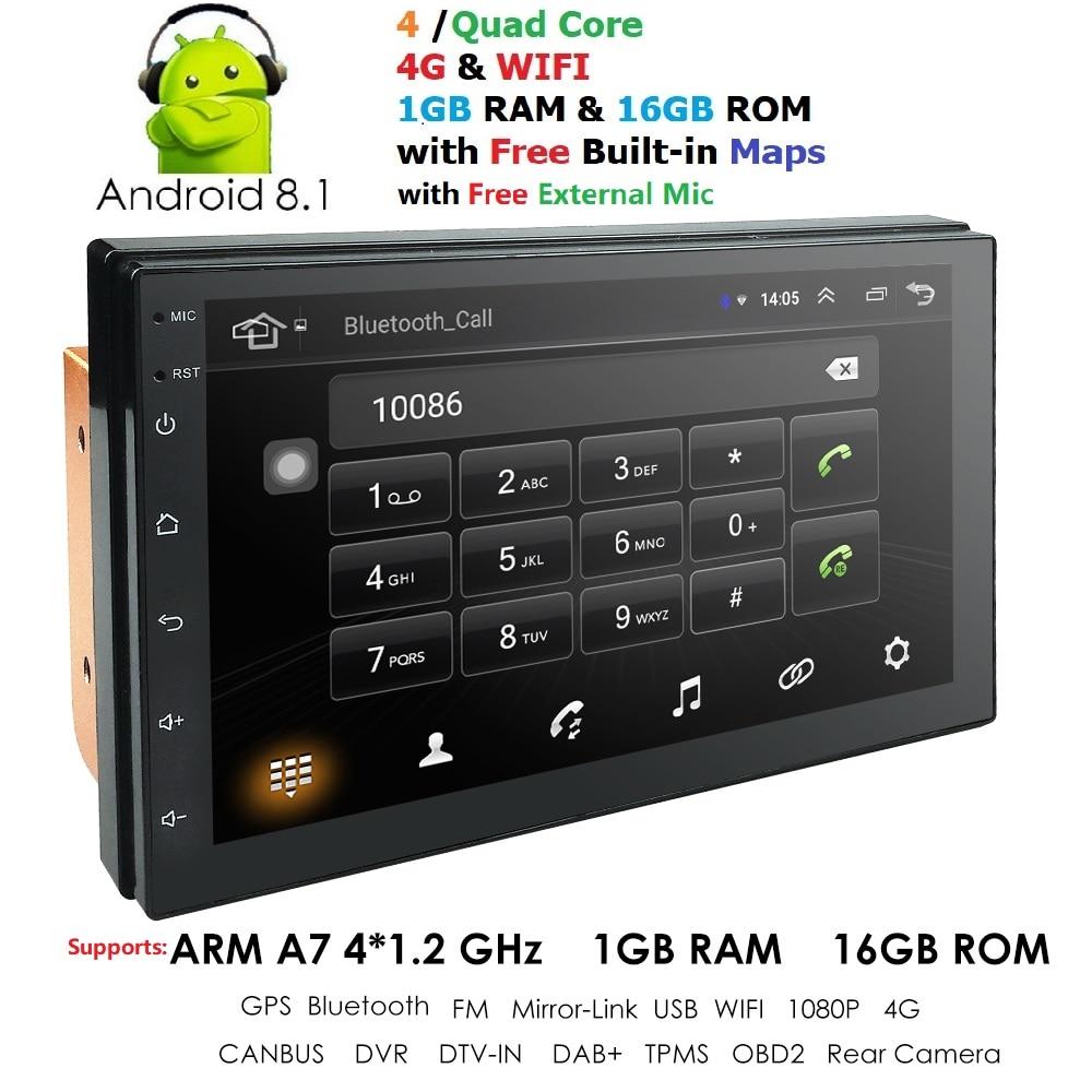 2 Din 7 ''quad Core Universal Android 8.1 1 Gb Ram Auto Radio Stereo Gps Navigation Wifi 1024*600 Touchscreen 2din Auto Pc Mic Karte