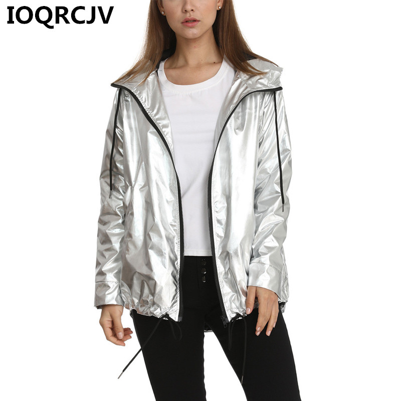 sophisticated technologies how to serch fine craftsmanship US $18.56 50% OFF|2019 Fashion Women's Spring Autumn Jacket Long Sleeved  Gold PVC Zipper Female Windbreaker Hooded Waterproof Bomber Jackets R781-in  ...