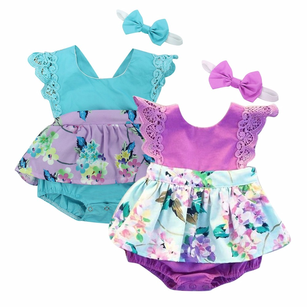 Puseky Nyfödda Baby Girls Kläder 2017 Sommar Kortärmad Lace Romper Skirted Jumpsuit + Headband 2PCS Outfit Princess Dress