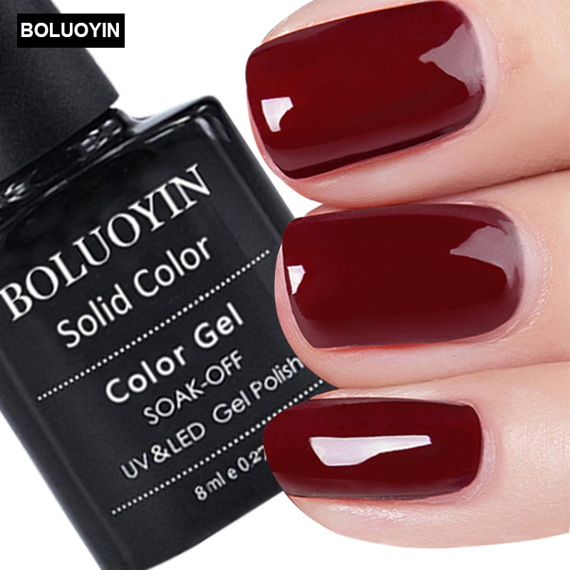1pc wine red color series gel nail polish 8ml pure dark ...