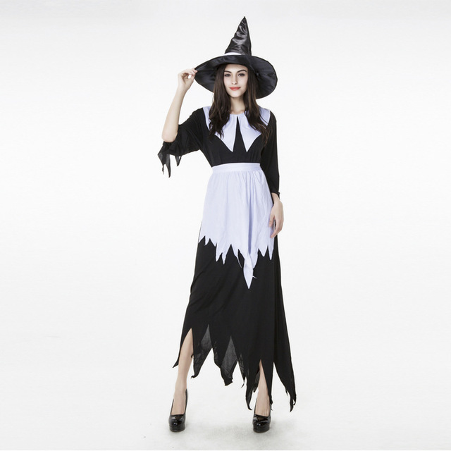 ea833dd1799 Takerlama Halloween Costumes Witch Costume for Women Adult Dress Hat  Cosplay Clothing White Black Witch Lady Dress