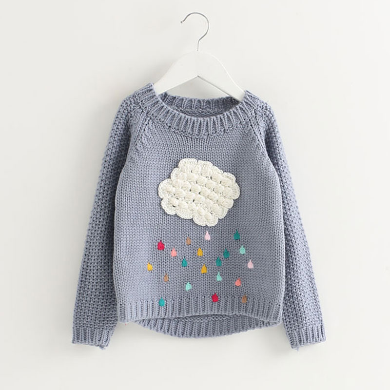 2017 New Spring and Autumn Children s Clothing Clouds Sweater Jackets Girls Tops Neck Long Sleeve