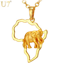 U7 Africa Elephant Necklace Silver Gold Color Trendy African Map Necklaces Pendants For Men Women Fashion