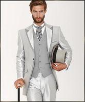 2016 летний стиль Итальянский индивидуальный серебряный костюм джентльмена из 3 предметов мужские свадебные костюмы жениха смокинги Блейзер