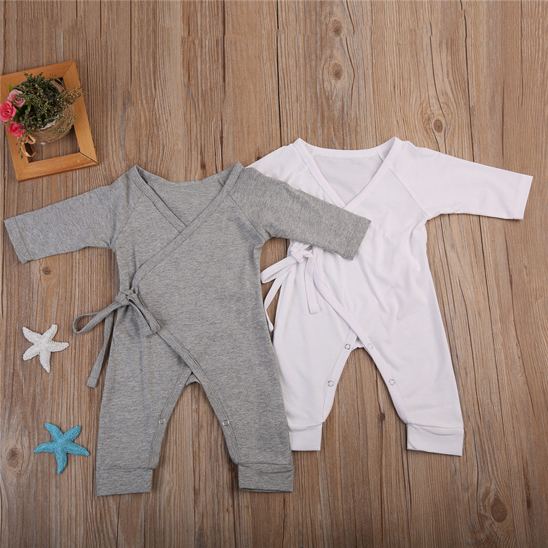 Newborn Infant Baby Boy Girl Cotton Romper Jumpsuit Boys Girl Angel Wings Long Sleeve Rompers White Gray Autumn Clothes Outfit 2017 lovely newborn baby rompers infant bebes boys girls short sleeve printed baby clothes hooded jumpsuit costume outfit 0 18m