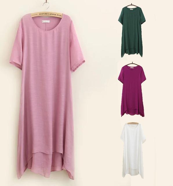 Lençóis de algodão de verão dress 4xl bolso roupas dupla camada solta o-pescoço cor sólida de manga curta casuais plus size mulheres dress
