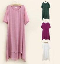 Sábanas de algodón de verano dress 4xl ropa de doble capa suelta bolsillo del o-cuello del color sólido de manga corta casual plus size women dress
