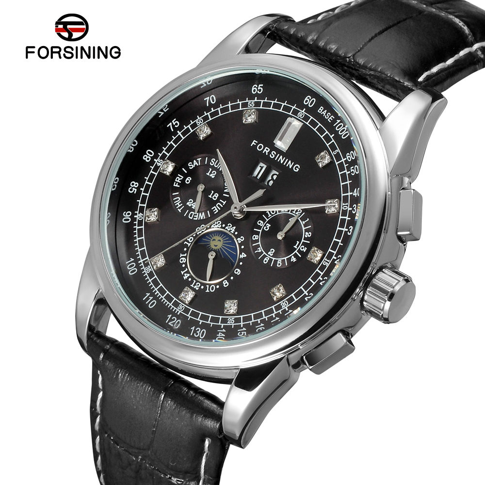FSG319M3S34 Forsining Automatic self-wind dress men moon phase watch black genuine leather strap free shipping with gift box цена