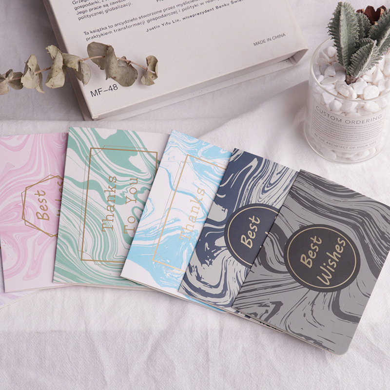 5 pcs Hot gold birthday card marble folding message card with envelope Christmas New Year blessing greeting card Gift card