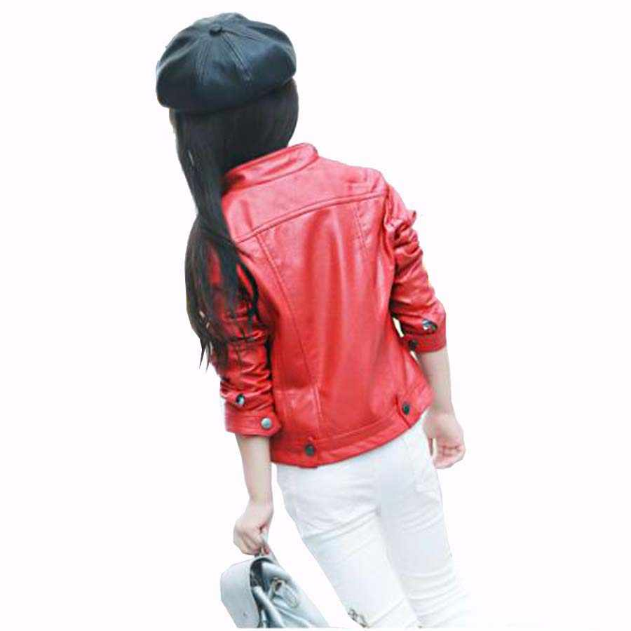 Куртка для девочек высокого качества Короткие Стиль PU кожаная куртка осень и лето детская одежда детская верхняя одежда куртка для девочек От 4 до 15 лет