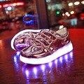 Crianças Moda Sneakers Crianças Sapatos Luminosos LED de Carregamento USB 2016 NOVOS Meninos Meninas Coloridas Luzes Piscando Sapato Ouro E Lasca